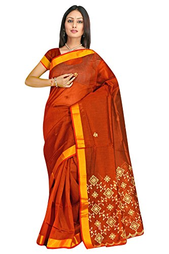 Dark chocolate thread work plain cotton sarees