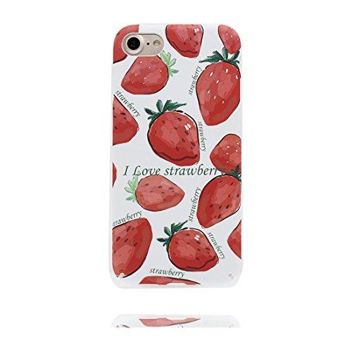 Custodia iPhone 7, iPhone 7 copertura case in Gel TPU Durevole flessibile Hard Cover iPhone 7 Case Graffi Resistenti - fragola Color 1