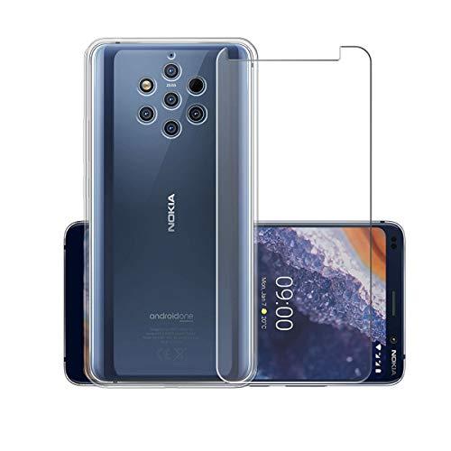 """PZEMIN Custodia per Nokia 9 PureView Cover Silicone Trasparente TPU Bumper Leggero Morbido Shell Case + Film di Vetro temperato per Nokia 9 PureView Pellicola Protettiva (5.99"""")"""