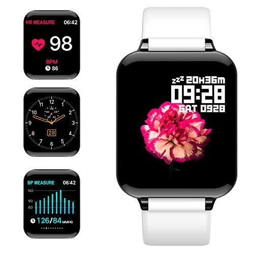 jpantech Smartwatch, Fitness Tracker Voller Touchscreen 5ATM Wasserdicht Smart Watch Intelligente Aktivitäts Uhr Sportuhr, Damen Herren Pulsmesser Schlafmonitor Android iOS(Weiß)