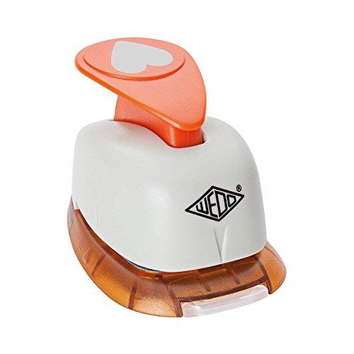 Wedo 168101 Motivlocher klein Herz (mit praktischem Auffangbehälter, Ausstanzung 1,6 x 1,3 cm) grau / orange -