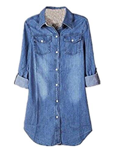 Besthoo camicetta donna camicia a quadro classica bottone tasca camicetta lunga manica blusa maglietta casual maglie blusa lungo vestido de mezclilla autunno invernale