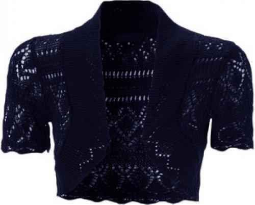 nouvelles dames tricot crochet filet de pêche boléro haussements d'épaules culture Navy