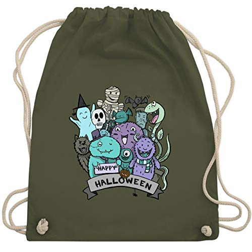 Halloween - Happy Halloween Monster - Unisize - Olivgrün - WM110 - Turnbeutel & Gym Bag (Halloween Unheimlich Happy)