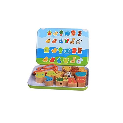0Miaxudh Threading Spielzeug Holz Baby Kinder DIY Obst Tier Saiten Perlen Spielzeug Früherziehung - Wilde Tiere (Holz-threading)