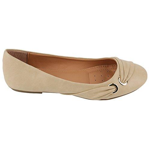 Klassische Damen Ballerinas Leder-Optik Flats Schuhe Übergrößen Flache Slipper Spitze Prints Strass Flandell Creme Gold