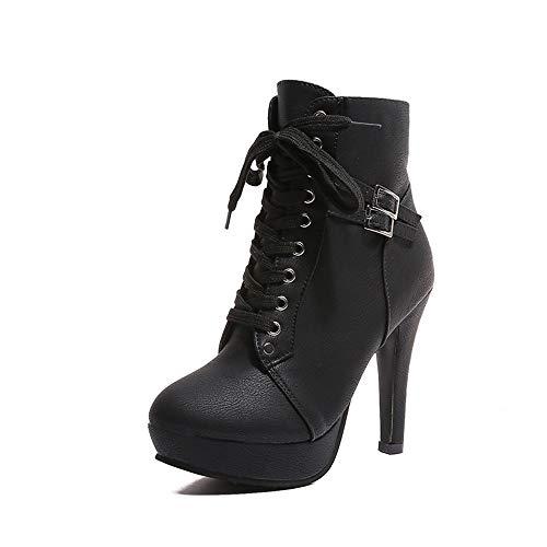 Luiyy Botines De Altos Tacón Mujer,Piel con Plataforma Cordones Zapatos Botas con Pelo...