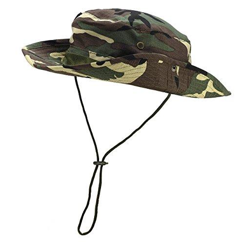 Faleto Outdoor Hut Buschhut Boonie Hat mit Kinnband Fischermütze Sonnenhut Sommerhut für Herren Damen (Camouflage#05)