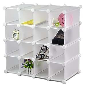 SODIAL(R) Pave Cube Organisateur de rangement en Plastique Range-Chaussures Presentoir Jouets ...