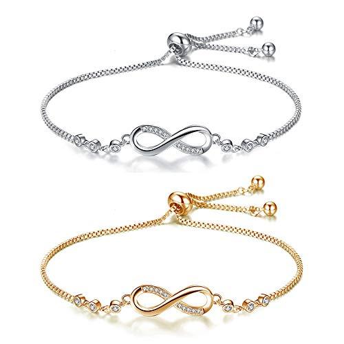 Crazy-m 2 Stück Infinity Unendlichkeit Symbol Damen Fußkettchen Damen Armband Armkette Gliederarmband Partnerarmbänder Silber und Gold