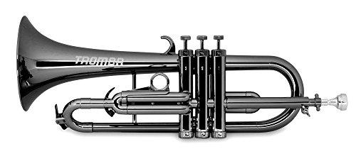Classic Cantabile Tromba ABS Kunststoff Flügelhorn (Monel-Ventile, Gewicht nur 560g, inl. Mundstück, Tasche & Reinigungsset) Schwarz Metallic