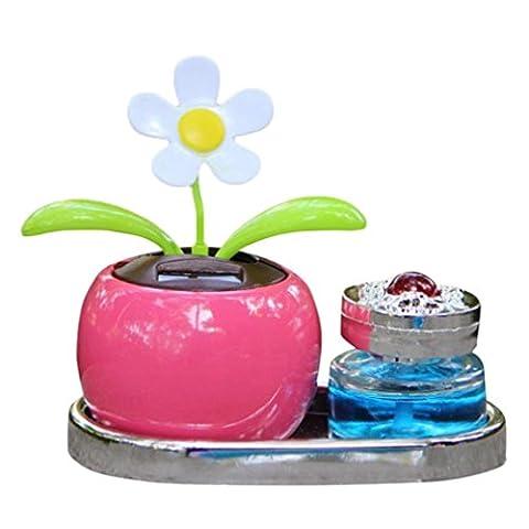 HUHU833 Solar Powered Perfume Flower Swinging Animated Bobble Dancer Toy Car Decor (Pink)