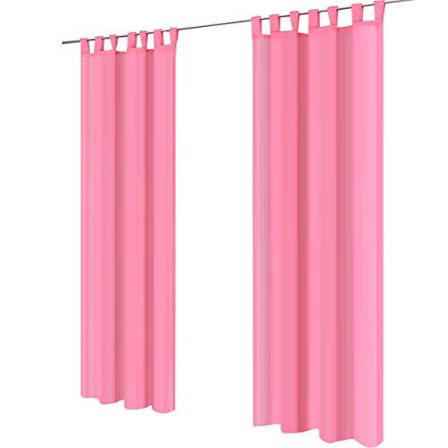 Lot de 2 gräfenstayn® venezia - rideau monochrome transparent en voile - nombreux coloris attrayants - dimensions (longueur x largeur) : 245x140cm chacun (rose)