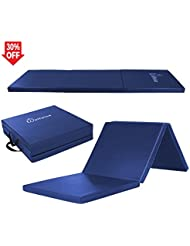 WolfWise Tapis de Fitness Pliable Super Ferme Anti-dérapant Nettoyage facile Tapis de Sport Gymnastique Exercices Fitness Yoga PU EPP 5cm d'Epaisseur