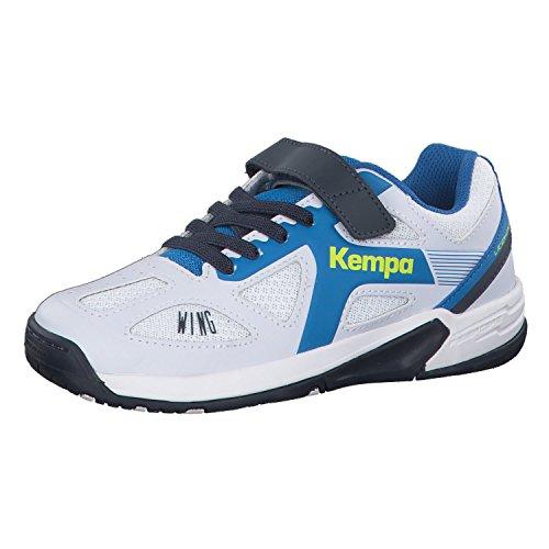Kempa Unisex-Kinder Wing Junior Handballschuhe, Weiß (White/fair blue/Navy), 34 EU