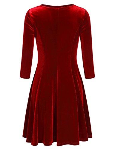 Slivexy Damen Vintage 3/4 Arm Kleider Rundhals Falten A-Linie Samt Kleid Rot-1