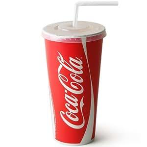 Coca Cola Paper Cups Set 22oz / 630ml - Set of 50 | 50 x Coca Cola Cups, 50 x Straw Slit Lids, 250 x Bendy Straws | Fast Food Restaurant Paper Cups, Branded Coca Cola Cups