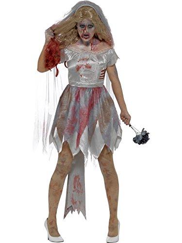 Smiffys Damen Deluxe Zombie Braut Kostüm, Kleid mit Rippenwunde, Schleier und Stauß, Größe: 36-38, 44578