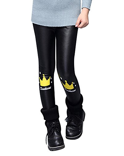 Kinder Mädchen Slim Fit Leggings lang blickdicht aus Baumwolle Hose Plus Kaschmir PU-Lederhose Schwarz 2 140 (Kaschmir-leggings)