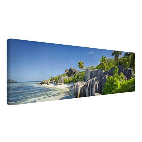 Bilderwelten Leinwandbild - Traumstrand Seychellen - Panorama Quer, 70cm x 200cm