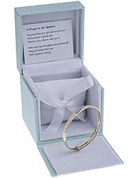 9ct Real Gold Expander Christening Bangle Bracelet for Babies Heart & Flowers Embossed