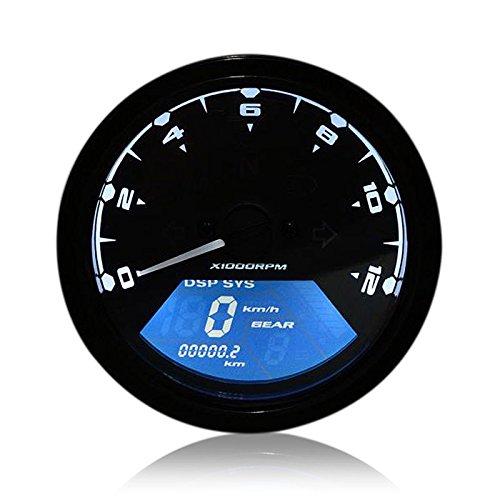 Tacómetro motocicleta, TKSTAR LCD Digital Tacómetro Velocímetro Odometer motocicleta LED cuentakilómetros, tacómetro...