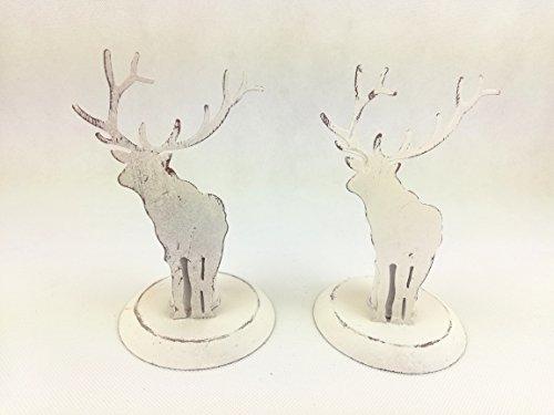 2 Hirsch Kerzenständer Metall Creme Country Home Landhaus Dekoration Deko Kerzen Stabkerzen Kerzenhalter Weihnachten Winter Shabby
