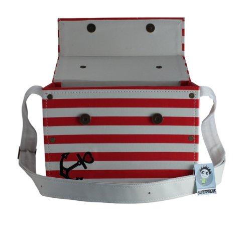 Borsa A Tracolla Superfreak® Con Ancoraggio, Tutti I Colori !!! Rosso / Bianco A Strisce