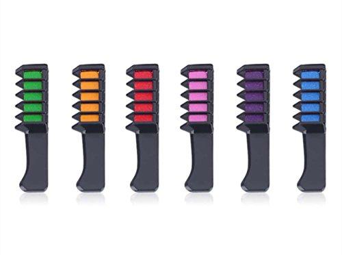 Color del cabello peine de tiza, Morbuy Creyones personales desechables de los ventiladores del partido de 6PCS DIY para la herramienta que teñe del pelo de la tiza del color de pelo