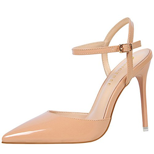 Azbro Women's Pointed Toe Ankle Strap High Heels Slingback Sandals Nude