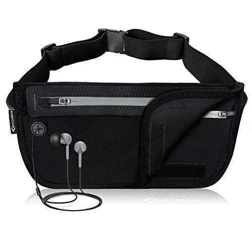 MYCARBON Bauchtasche Flach Reisen Sport Hüfttasche RFID 100% Diebschutz | Klappbar Design | Wasserdicht für 6 Zoll Handhy iPhone 6/ 6s/ 6Plus/ 7 Gürteltasche für Damen Herren (Nike Sport Plus Sehen)