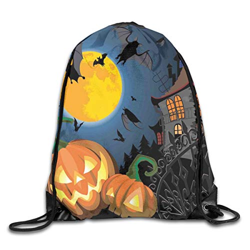 GONIESA Fashion New Drawstring Backpacks Bags Daypacks,Gothic Halloween Haunted House Party Theme Design Trick Or Treat Motifs Print,5 Liter Capacity Adjustable for Sport Gym Traveling