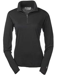 Smartwool Mérinos microweight Zip Thé T-shirt fonctionnel à manches longues de Femme, Noir (Noir)