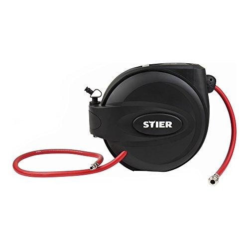 STIER Druckluft-Schlauchtrommel SST-15, Druckluftschlauch, Schlauchaufroller, 20 bar, Länge 15 m, flexible Anwendung, inklusive Auto-Stopp