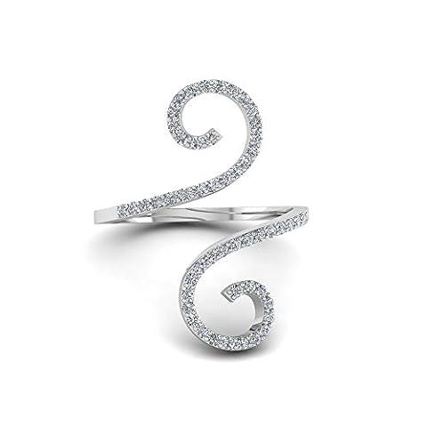 Pretty Schmuck Rund Weiß simuliert Diamant Damen Swirl Design Ring in 14K Weiß Gold über Sterling Silber 925
