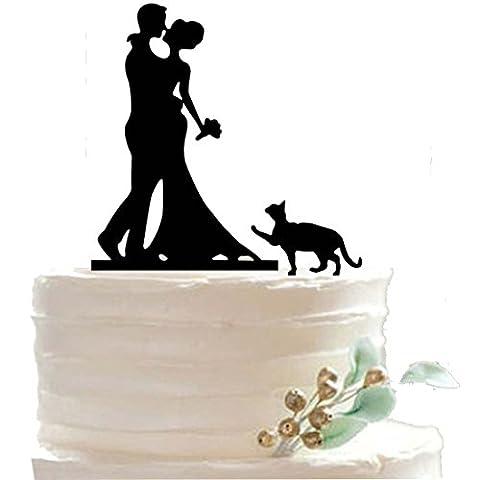 HESHIFENG. party & accessories Décoration pour gâteau en acrylique de mariage à personnaliser Couple de mariés avec chat
