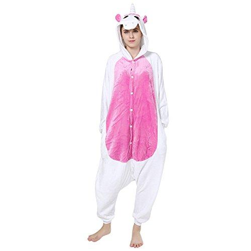 Einfach Karton Kostüm - Lisli Erwachsene Halloween Karton Kostüm Tier Einteiler Onesie Anzug Jumpsuit Pyjama Schlafanzug Unisex, Einhorn, Für 150-190cm