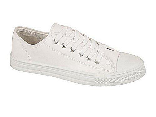 Foster Footwear - Scarpe da ginnastica in tela Ragazzi Unisex adulti uomo donna White