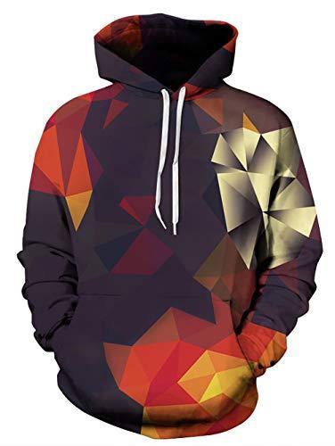 Spreadhoodie Damen Hoodie 3D Geometrie Druck Kapuzenpullover Lustig Polygon Gedruckt Drawstring Hooded Pullover Sweatshirt Tops Jumper Orange S/M -