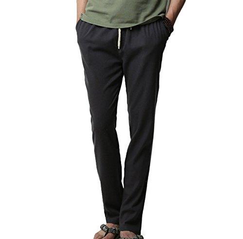 Homme Pantalon en Lin de Loisirs Respirant avec Poches Taille Elastique Cordon de Serrage Noir