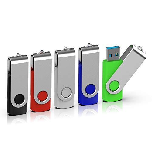 Design Usb-laufwerk (TOPESEL USB-Stick 32GB 3.0 Memory Sticks 5 Stück Speicherstick USB-Flash-Laufwerk USB Flash Drive 360° Drehbar Design mit Metalldeckel Bunt Schwarz, Silber, Blau, Grün, Rot)