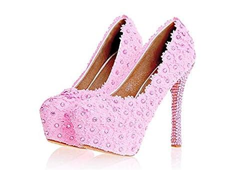 MNII Womens Flowers Dentelle MariéE Bridesmaids Court Shoes Wedding Party Evening Plateformes High Heel , 34 [leather lining] , pink 14cm- bonne qualité