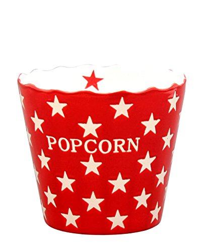 Krasilnikoff Popcorn Schale, Schüssel - Rot mit Weißen Sternen - Red Star- Keramik - Höhe: 16 cm