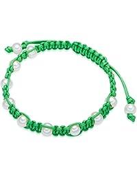 Valero Pearls Damen-Armband Länge flexibel verstellbar 16 bis 23cm - Baumwolle Perle Süßwasser-Zuchtperle Weiß- 60923039