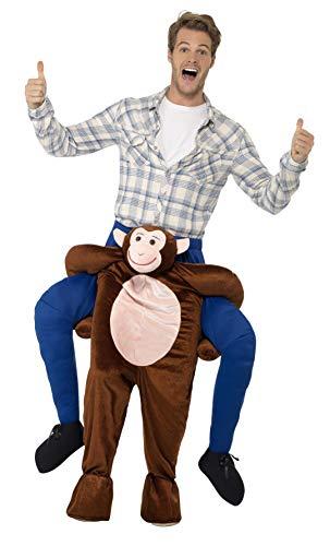 Smiffys Herren Huckepack Affen Kostüm, Einteiler mit Beinen, One Size, Braun, 24650