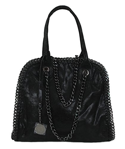Stella Metallic Tote (Limited Colors Damen Handtasche PAMELA Lederlook Glitzer Metallic Optik mit Kette (Schwarz))