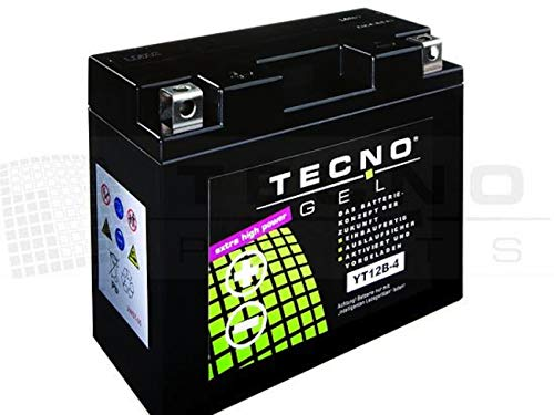 TECNO-GEL Motorrad-Batterie YT12B-4, 12V Gel-Batterie 10Ah, 150x70x131 mm incl. Pfand