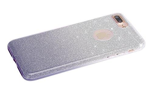 iPhone 7 Plus 2016 Hülle,iPhone 7 Plus 2016 Bling Hülle,JAWSEU Luxus Rose Glitter Strass Glänzend Diamant Rückseite Hart Hülle Case PC Bling Schutz Etui Tasche Schale Cover für iPhone 7 Plus 5.5 Zoll+ Gradient Grau