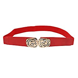 SRI Women's Interlocking Designer Buckle Elastic Cinch Waist Belt- Red