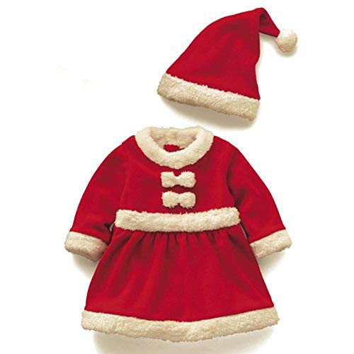 Christmas Cute Santa Kostüm - Fliyeong Baby Mädchen Xmas Santa Kostüm mit Hut Cute Party Christmas Dress 90cm